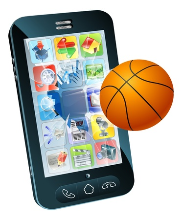 sports application: Illustration of a basketball ball flying out of cell phone screen Illustration