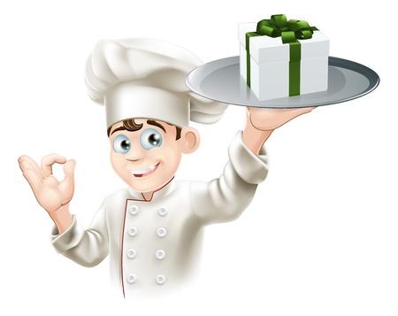 fine cuisine: Uno chef con un regalo su un piatto. Potrebbe essere concetto per i premi da pranzo o buoni o gift card o altro Vettoriali