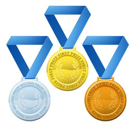 competitions: Ilustraci�n de tres medallas de estilo deportivo para los ganadores del primer premio segunda y tercera