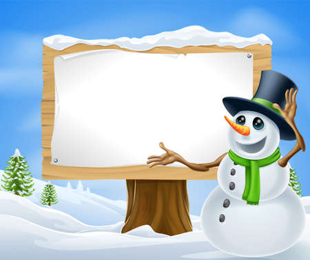 snow cap: A cute cartoon snowman in Christmas winter scene with sign
