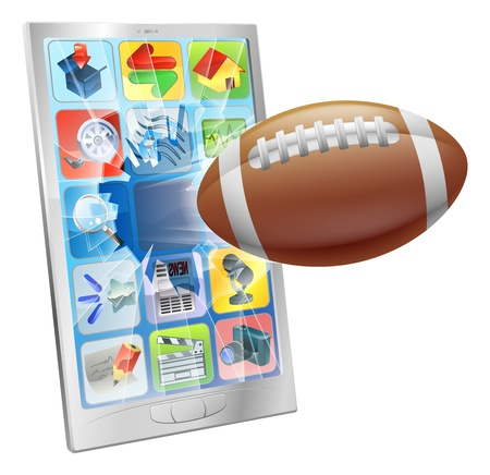 sports app: Illustration of an American football ball flying out of mobile phone screen Illustration