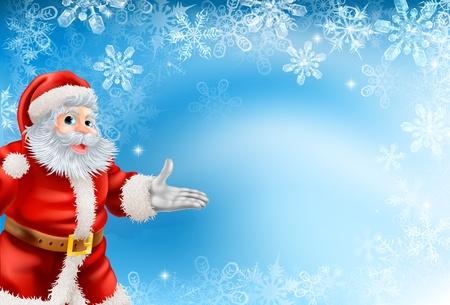 Ilustración de la hermosa Navidad copo de nieve de fondo azul con Santa Claus Vectores
