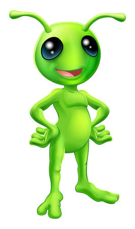 antennae: Cartoon green  happy friendly alien standing with his hands on his hips Illustration