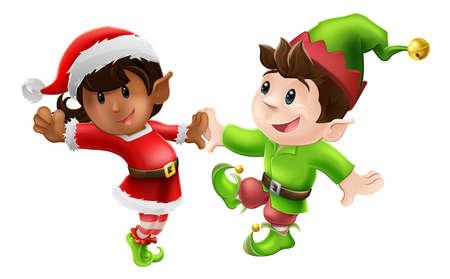 helpers: Dos felices elfos de Navidad disfrutando de un baile de Navidad en traje de Santa y duende ropa