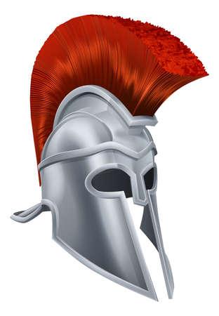 casco rojo: Ilustración de un casco de guerrero griego antiguo, casco Spartan, romano casco o yelmo de Troya.