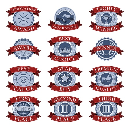 awarded: A series of red and blue victory reward shields like those awarded for different review or test categories or evaluations.