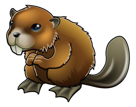 A cute cartoon brown beaver mascot character  Vector