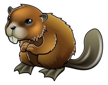castor: Una historieta linda brown beaver carácter de la mascota Vectores