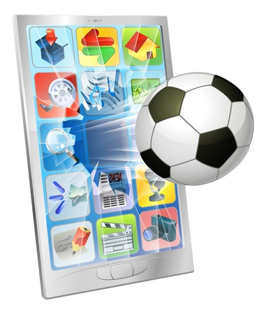 sports application: Illustration of an soccer football ball flying out of mobile phone screen