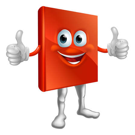 Illustration of a happy cartoon red book man doing a thumbs up Vector