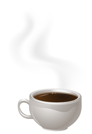 steaming: An illustration of a cup of steaming black Coffee