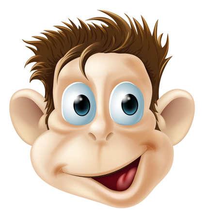 Cartoon illustration of a laughing happy monkey face Vector