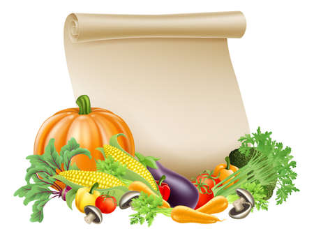 grocer: Illustration of thanksgiving; harvest festival or fresh produce scroll background of paper scroll sou rounded by fresh vegetables and fruit with copyspace Illustration
