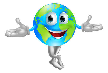 A cute cartoon illustration of a globe world mascot man Stock Vector - 15824474