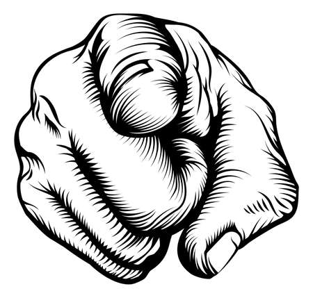 pointing finger pointing: Retro black woodcut print style hand pointing finger at viewer, from front