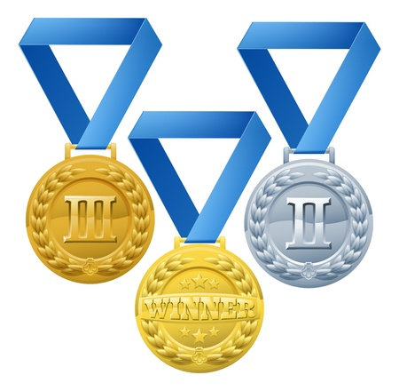 bronze medal: Illustration of three medals on blue ribbons  Bronze silver and gold winners awards