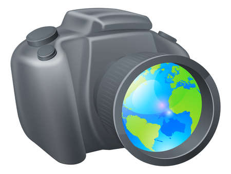 Camera globe concept, camera with globe in lens, could be for travel photography, a photography holiday or trip, or internet photography concept. Vector