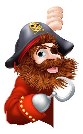 pirata: Un pirata risa de la historieta con un parche de gancho y ojo que mira a escondidas se�alando un mensaje Vectores
