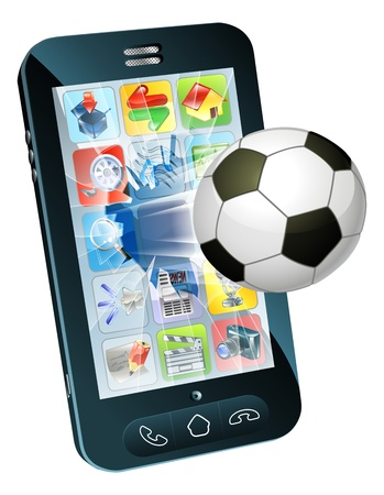 socer: Illustration of an soccer ball flying out of cell phone screen
