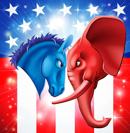 congress: American politics concept illustration of a donkey and elephant facing off. Symbols of Democrat and Republican two US parties. Could be for presidential debate, partisan politics, or just an election.