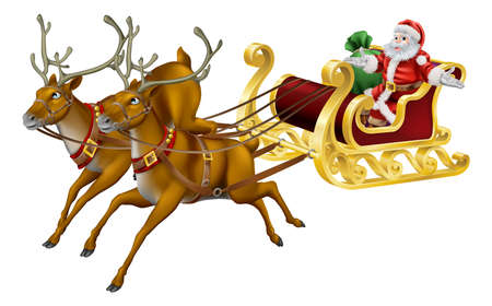 santas sleigh: Illustration of Santa in his Christmas sled being pulled by reindeer
