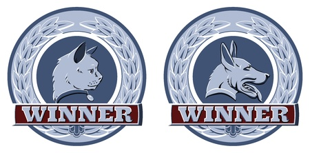 Illustration of cat and dog winners badges or shields in blue and red Vector