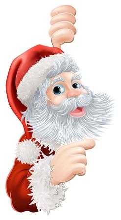 �santaclaus: Ilustraci�n de la feliz Navidad de Pap� Noel que mira furtivamente alrededor y se�alando