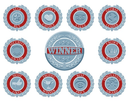 awarded: A set of blue and red winners award badges or medallions like those awarded in test or reviews or for product descriptions Illustration