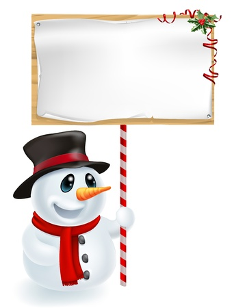 Happy Christmas snowman holding a Christmas sign and smiling Vector