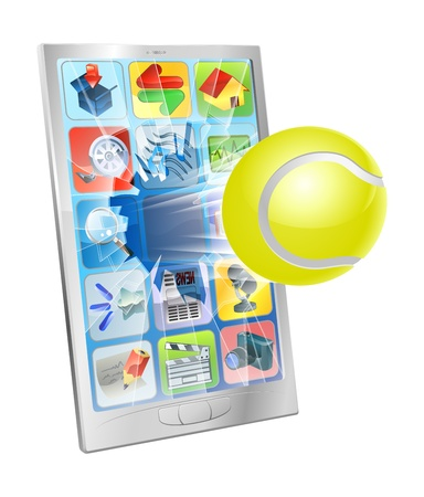 Illustration of a tennis ball flying out of a broken cell phone screen Stock Vector - 15997818