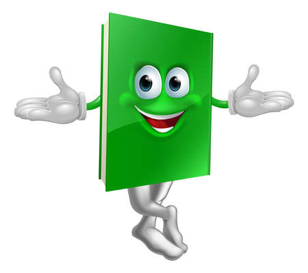 Cartoon book mascot smiling with crossed legs and hands out Vector