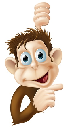 brown eyes: A very happy monkey pointing cartoon character or mascot