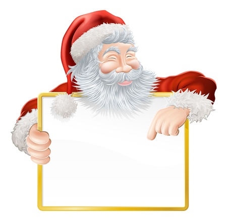 Christmas illustration of Santa holding and pointing at a sign Vector