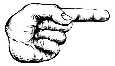 pointing at: Illustration of a hand indicating or showing direction by pointing a finger in a retro woodblock style