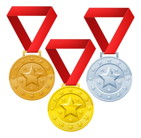 third: Gold, silver and bronze winners medals for first second and third place awards