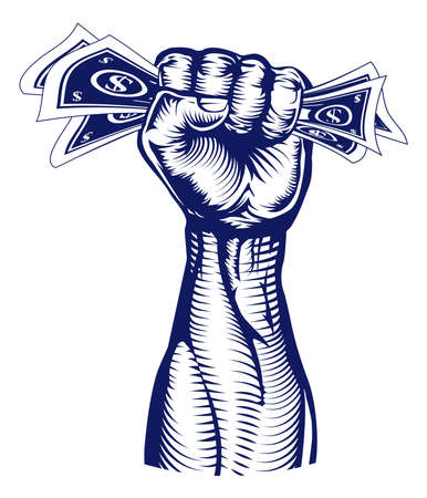 squeezing: A revolutionary fist holding up a hand full of dollar bills money  Illustration