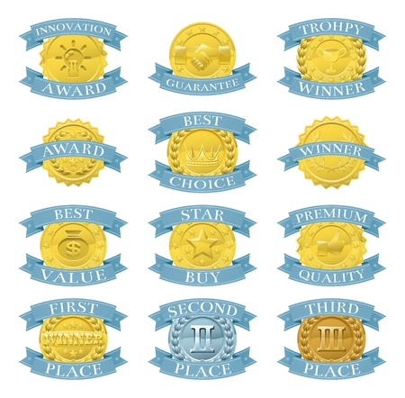 Set of gold and blue award medals or badges like those used for internet product or consumer reviews or tests or for product descriptions Stock Vector - 16113826