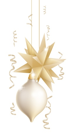 newyear card: Illustration of two beautiful gold and white Christmas tree baubles or decorations one in the shape of a star
