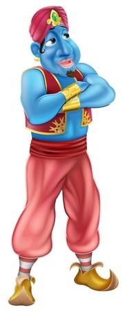 genio de la lampara: Ilustración de un aspecto amigable de pie azul genio de dibujos animados con los brazos cruzados