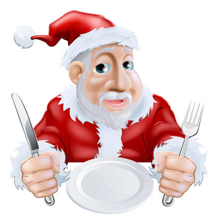 clause: A happy cartoon Santa ready for Christmas dinner waiting for food with knife and fork in hand and empty plate  Alternatively place your text or food graphic on plate