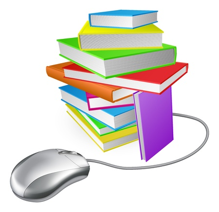 Book stack computer mouse concept. Could be for online library, ebooks, or internet e learning or distance learning Vector