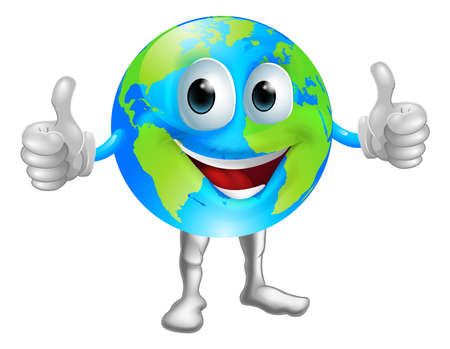 cartoon earth: A world or globe mascot character with a broad grin giving a thumbs up Illustration
