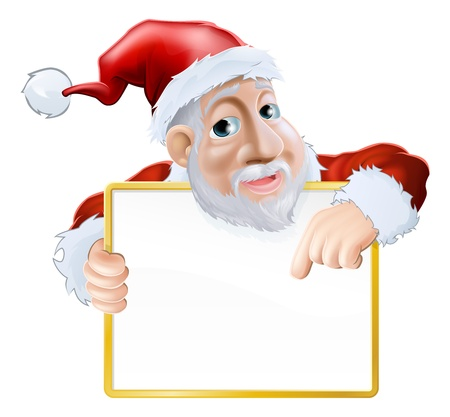 An illustration of a happy cartoon Santa holding a sign and pointing at the message  Vector