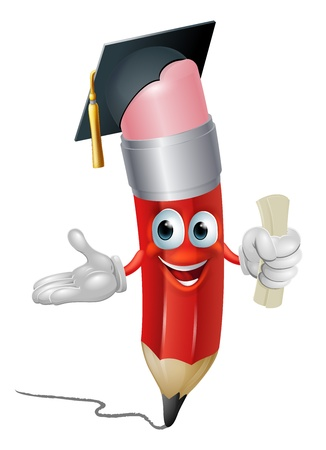 mortar board: An illustration of a pencil character in mortar board hat holding scroll certificate or diploma graduating