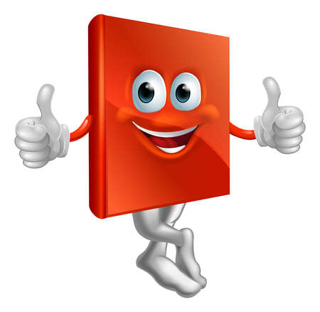A cartoon illustration of a red book character giving a thumbs up Vector