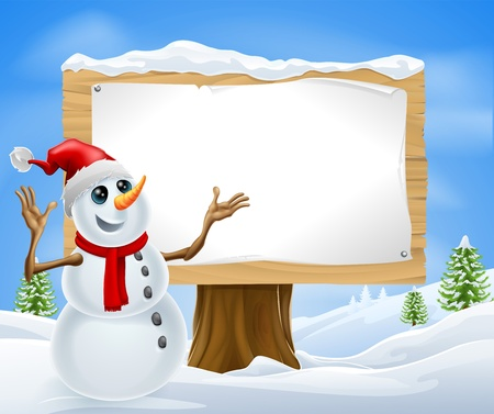 snow cap: Christmas snowman with Santa hat in snowy landscape with sign