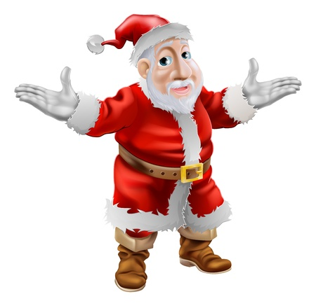 arms outstretched: A happy cartoon Christmas Santa Claus standing with his arms outstretched Illustration