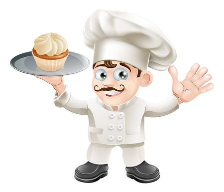 fine cuisine: Illustration of a chef or baker with a cake on a plate