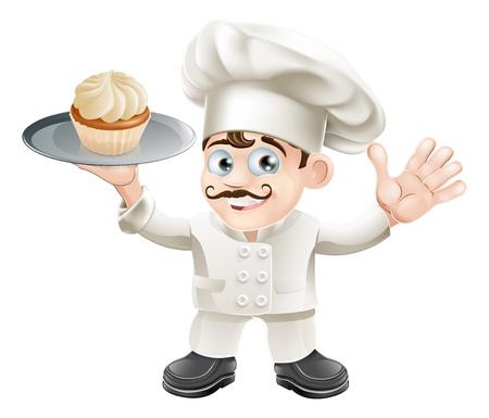 fine cuisine: Illustrazione di un cuoco o panettiere con una torta su un piatto