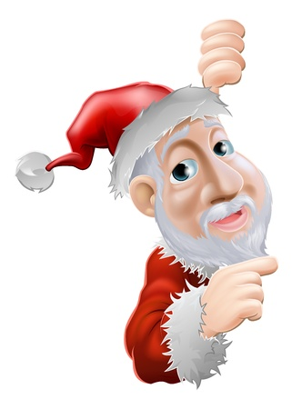 An illustration of a happy cartoon Santa smiling and pointing to the side Vector